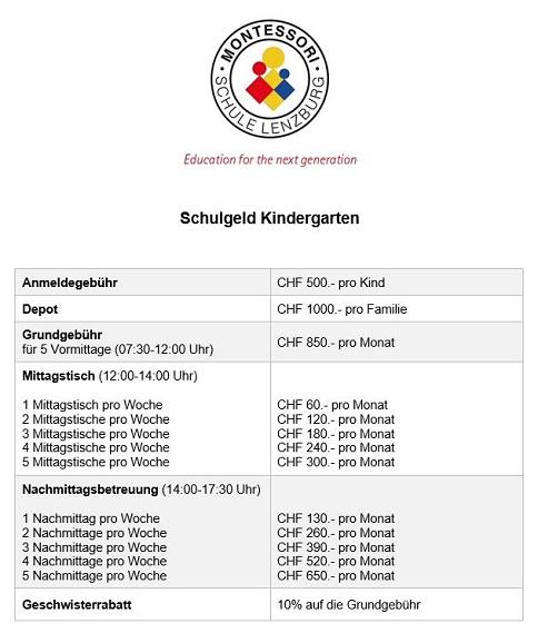 MSL Stundenplan Kindergarten