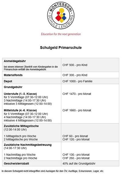 MSL Schulgeld Kindergarten